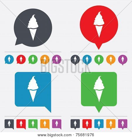 Vector Ice Cream sign icon. Sweet symbol.