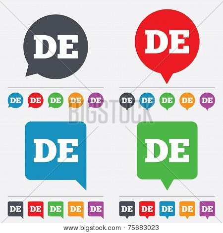 German language sign icon. DE Deutschland.