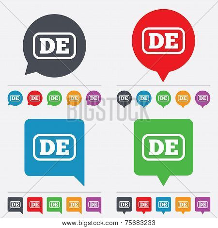 Vector German language sign icon. DE Deutschland.