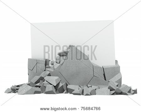 Broken concrete with paper inside