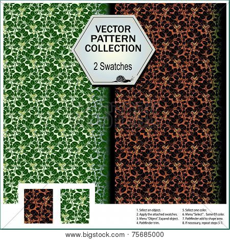 Vector pattern collection that includes 2 swatches from the leaves