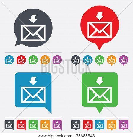 Mail receive icon. Envelope symbol. Get message