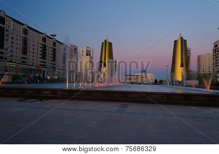 Nurzhol Boulevard At Sunset. Astana. Kazakhstan