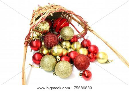 Inverted Basket Of Christmas Balls
