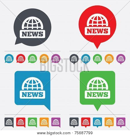 News sign icon. World globe symbol.