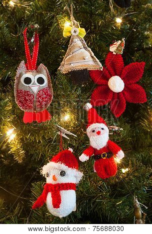 knitted christmas tree decorations background
