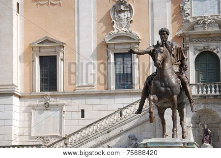 Bronze Horse Statue of the Roman Emperor Marcus Aurelius on the Capitol Hill