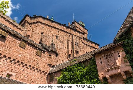Walls Of Haut-koenigsbourg Castle In Alsace, France
