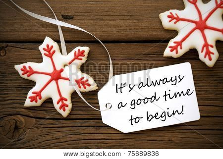 Christmas Decoration With Label With Life Quote On It
