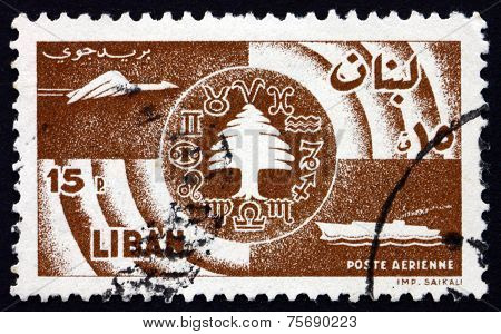 Postage Stamp Lebanon 1957 Symbols Of Communications