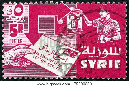 Postage Stamp Syria 1957 Mailing And Receiving Letter