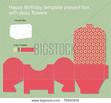 Present Box With Happy Birthday Label