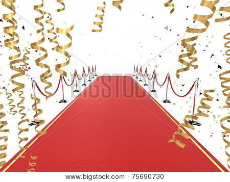 3d rendered illustration of a red carpet and golden ribbons