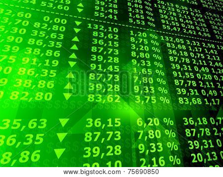 3d rendered illustration of many stock numbers