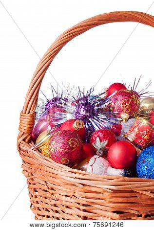 Wicker Basket Full Of Chirstmas Baubles