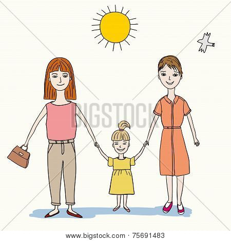 two lesbian woman holding a little girl with her hands