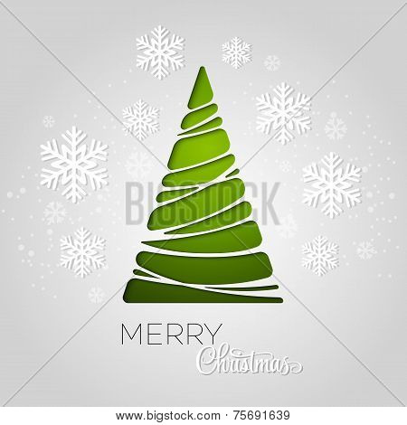 Merry Christmas tree greeting card. Paper design