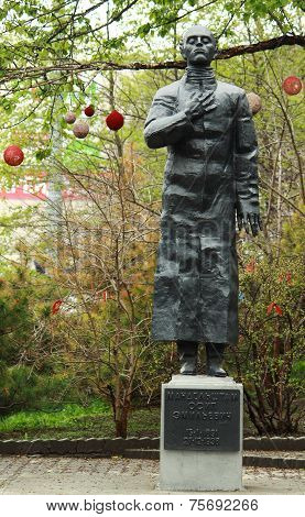 monument of russian poet and essayist Osip Mandelstam in Vladivostok