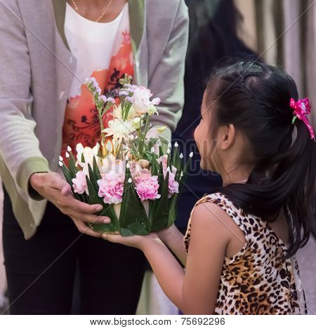 Children Hold Flora Basket (krathong)