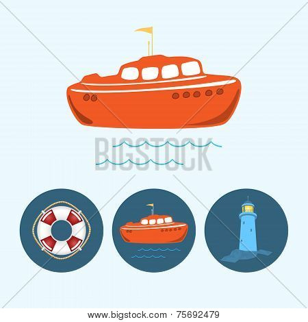 Set Icons With   Colored Boat, Life Buoy , Lighthouse, Vector Illustration