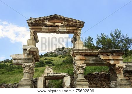 Ancient Trajan fountain in Ephesus, Turkey
