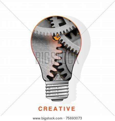 Conceptual Vector Icon,  Light Bulb Inside Metal Gear Wheels