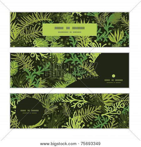 Vector evergreen christmas tree horizontal banners set pattern background