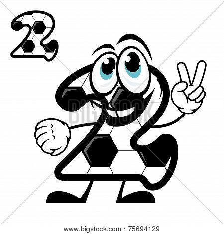 Cute number 2 with a hexagonal soccer pattern