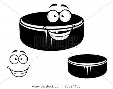 Happy smiling hockey puck