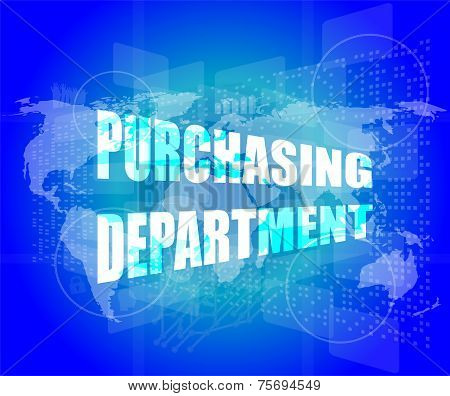 Purchasing Department Words On Digital Screen With World Map