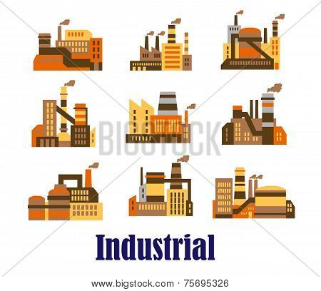 Flat industrial icons of plants and factories