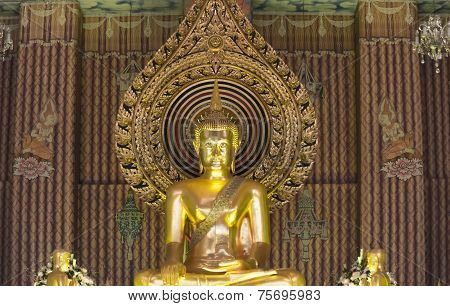 Golden Buddha Statue At 'wat Chanasongkram Temple' In Thailand