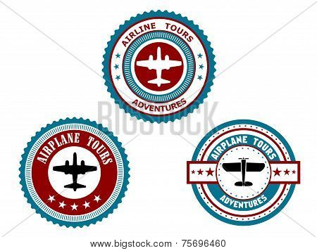 Circular badges for airplane tours