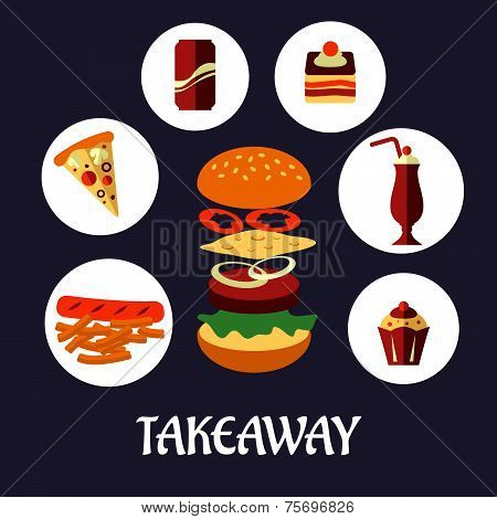 Takeaway food flat poster design