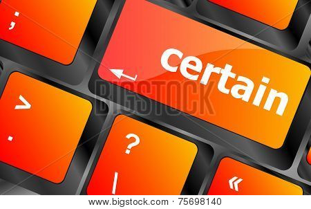 Certain Word On Computer Pc Keyboard Key