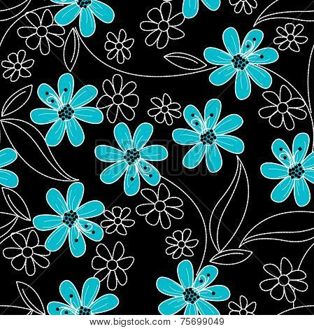 Light Blue Flowers On Black And White Embroidery In A Seamless Pattern