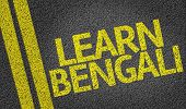 image of bengali  - Learn Bengali written on the road - JPG