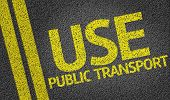 picture of polution  - Use Public Transport written on the road - JPG
