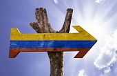 pic of medellin  - Colombia wooden sign on a beautiful day - JPG