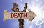 stock photo of bereavement  - Death wooden sign on a sky background - JPG