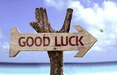 foto of fourleaf  - Good Luck sign with a beach on background  - JPG