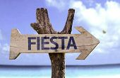 """pic of mexican fiesta  - """"Fiesta"""" (In spanish - Party) sign with a beach on background  - JPG"""