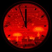 picture of doomsday  - Doomsday clock showing 3 minutes to midnight against nuclear war background - JPG