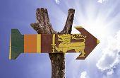 foto of sinhala  - Sri Lanka wooden sign on a beautiful day - JPG
