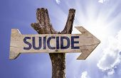 image of suicide  - Suicide wooden sign on a heaven background - JPG