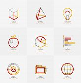 Minimal thin line design web icon set, universal logotypes poster