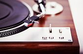 image of analogy  - Stereo Turntable Vinyl Record Player Analog Retro Vintage Closeup - JPG
