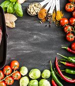stock photo of indian food  - food background for text with herbs and vegetables - JPG