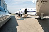 pic of limousine  - Stewardess and pilot standing neat limousine and private jet at airport terminal - JPG