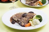 foto of t-bone steak  - grilled t-bone steak and vegetables on the table ** Note: Shallow depth of field - JPG